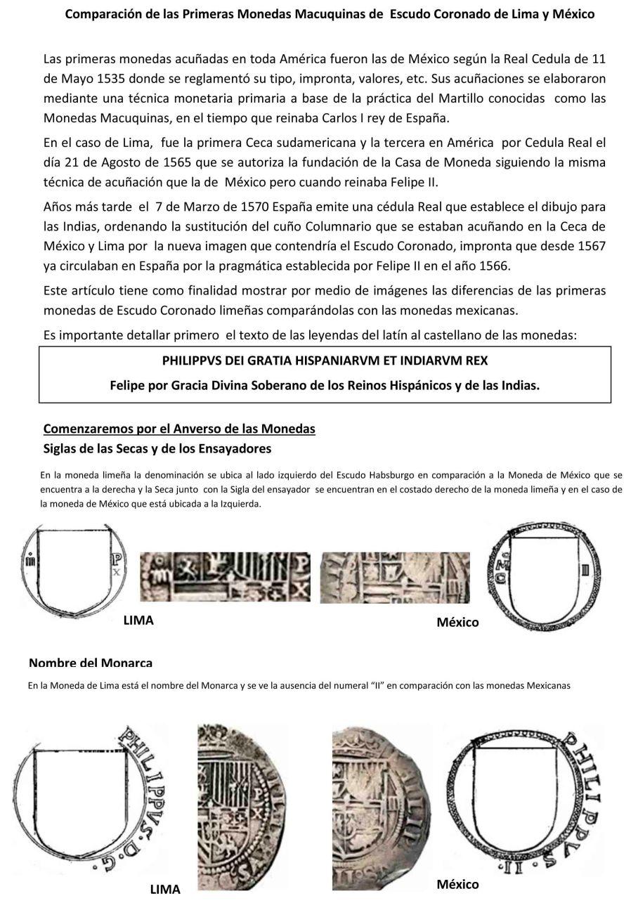 Diferencia Moneda escudo coronado lima mexico-1
